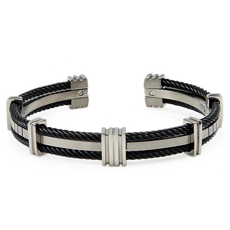 Titanium Black Cable BANGLE Bracelet