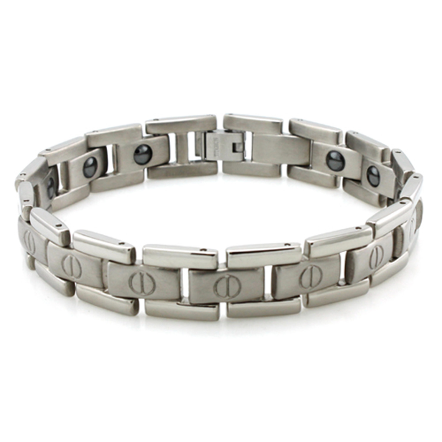Titanium Magnetic Inserts and SCREW Accents Link Bracelet