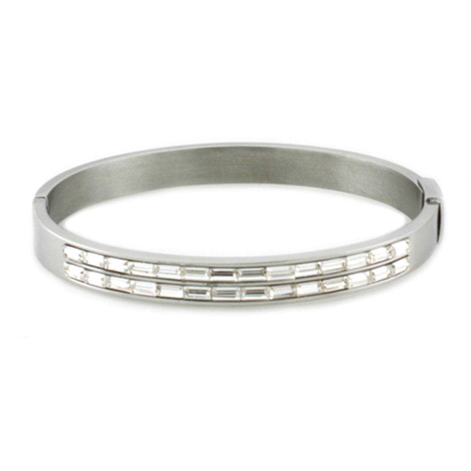 Stainless Steel Baguette CZ Channel Oval BANGLE