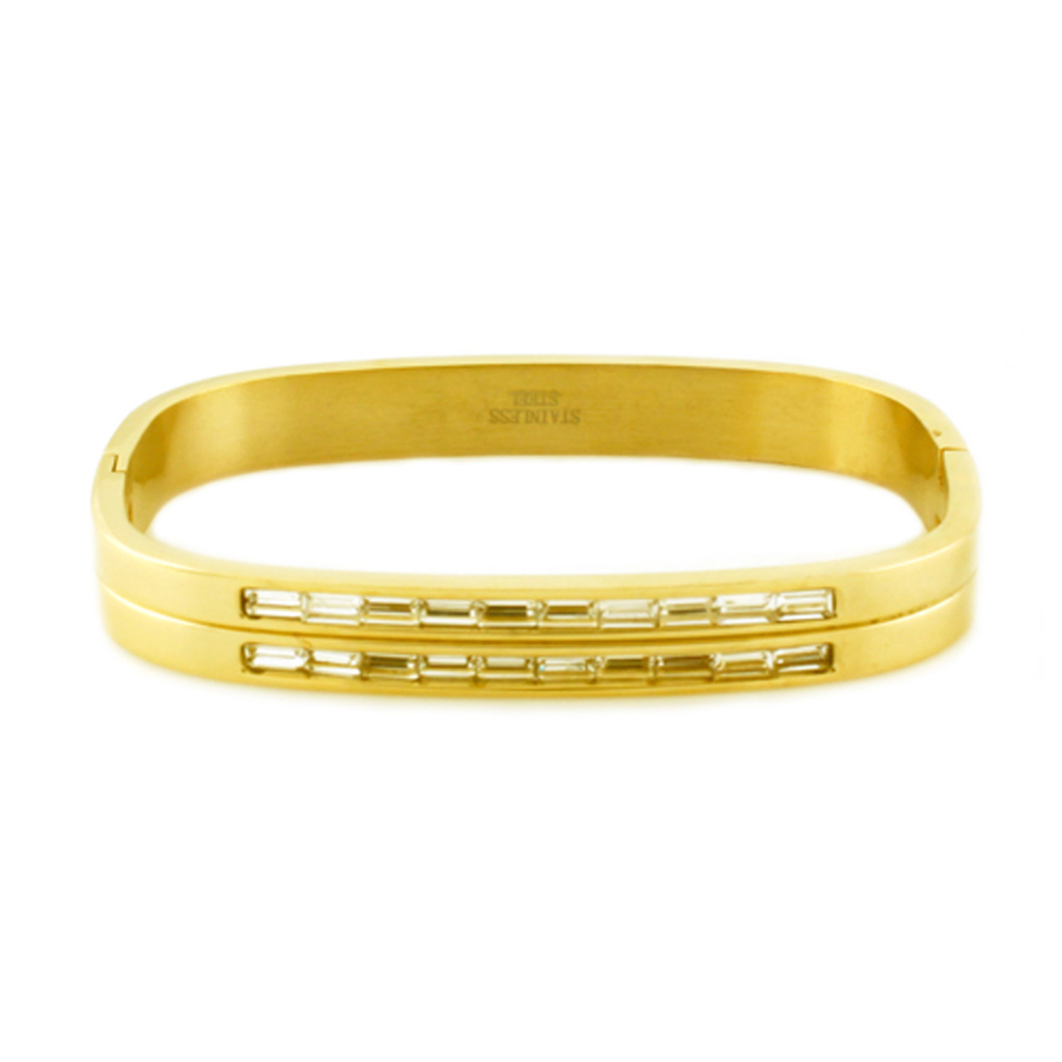 ''Gold Plated Stainless Steel Baguette CZ Channel Rectangular BANGLE,''