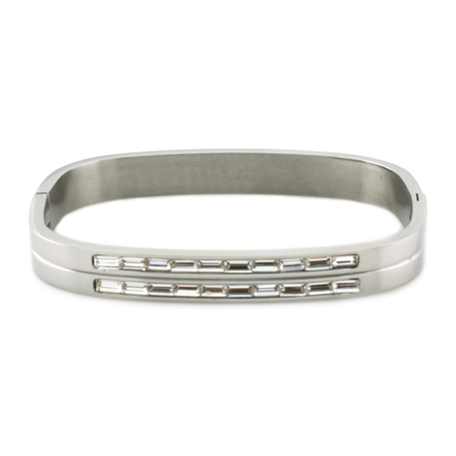 Stainless Steel Baguette CZ Channel Rectangular BANGLE
