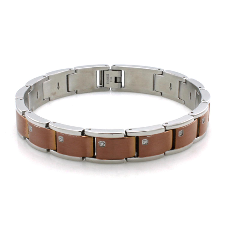 Two-Tone Stainless Steel Cubic Zirconia Brown Link BRACELET