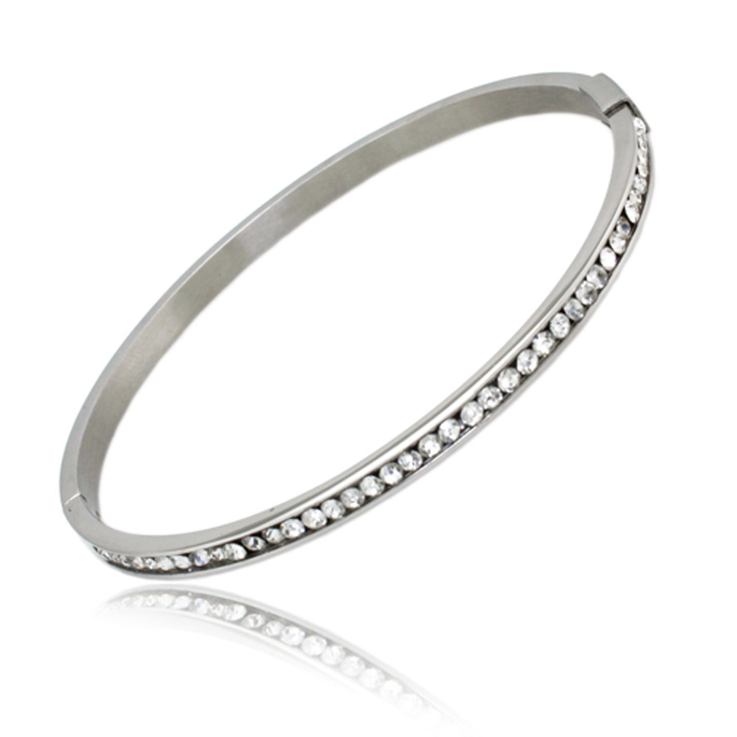 Stainless Steel CZ Channel Eternity BANGLE