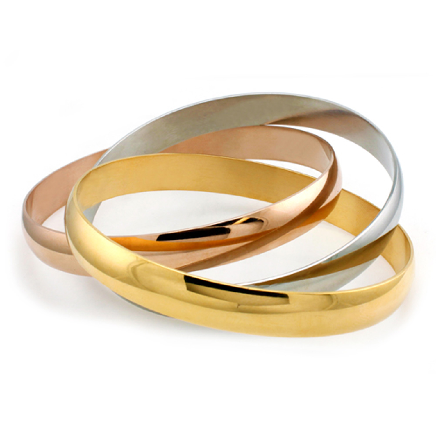 ''Stainless Steel Gold, Silver, & Rose Gold Intertwined BANGLE''