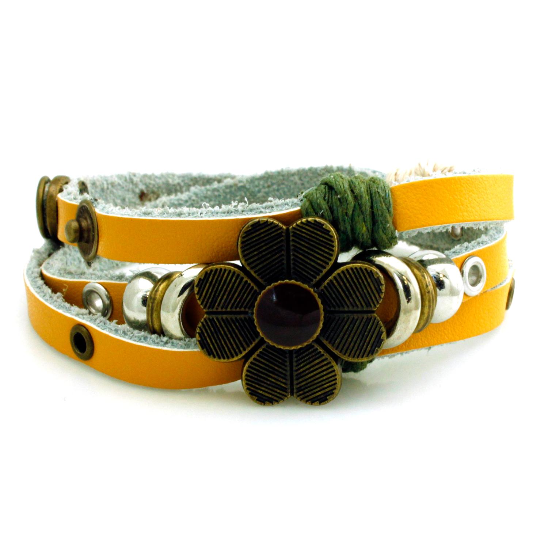 LEATHER Boho Four Leaf Clover Wrap Bracelet