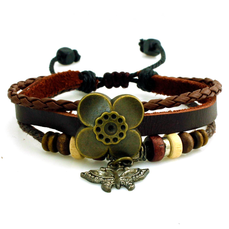 LEATHER Boho Flower and Butterfly Charm Adjustable Bracelet