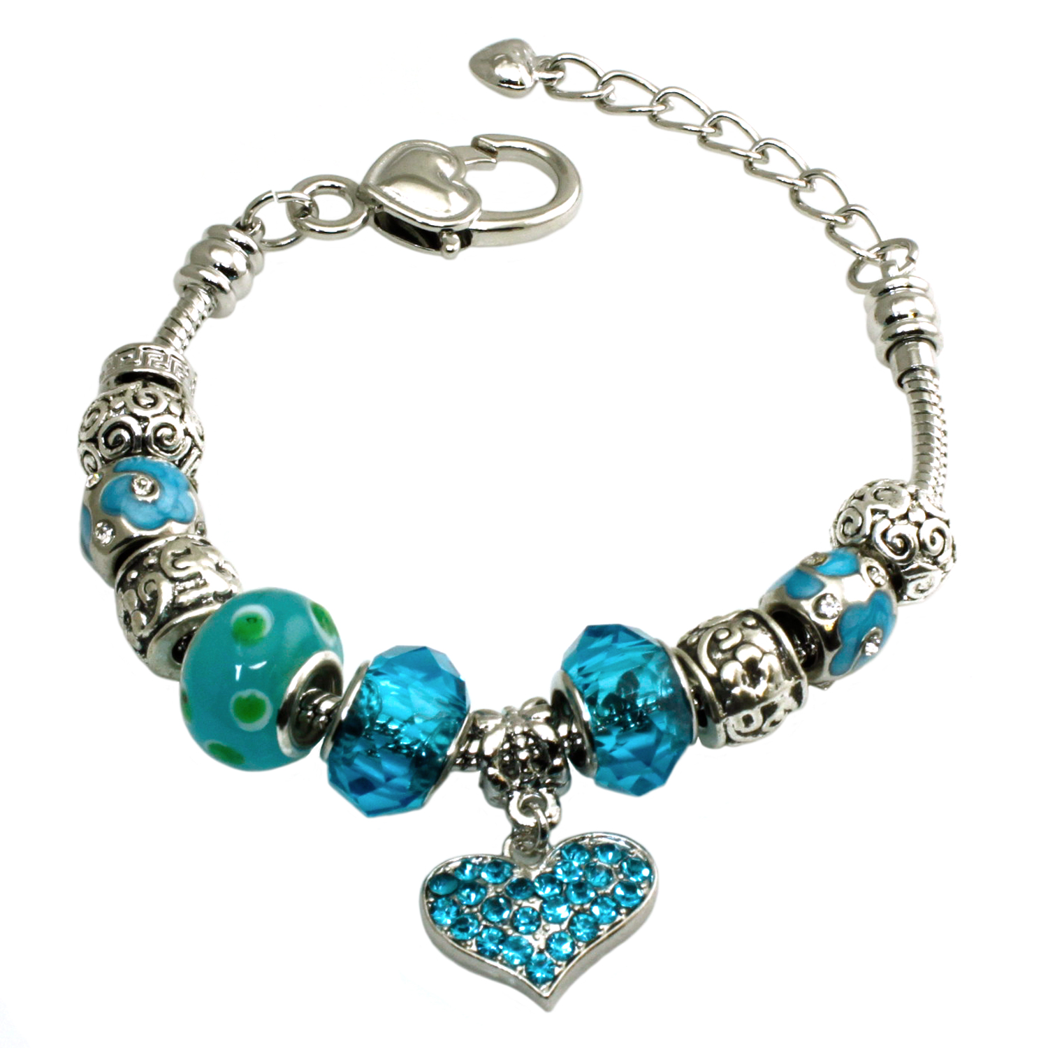 Metal Alloy Multi-color AQUAMARINE CZ Gems Charms Bracelet