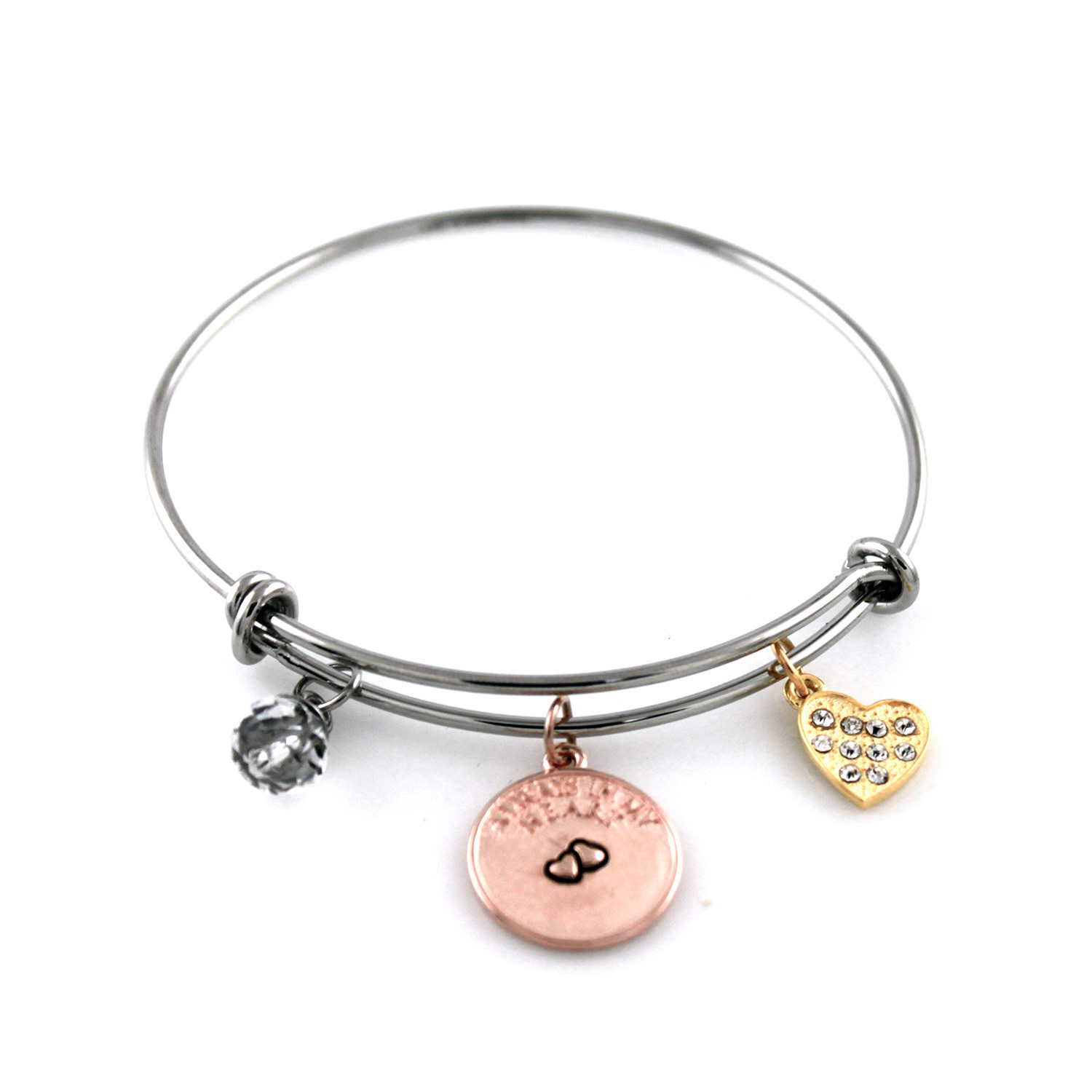 Stainless Steel Adjustable Always In My Heart Charm BANGLE