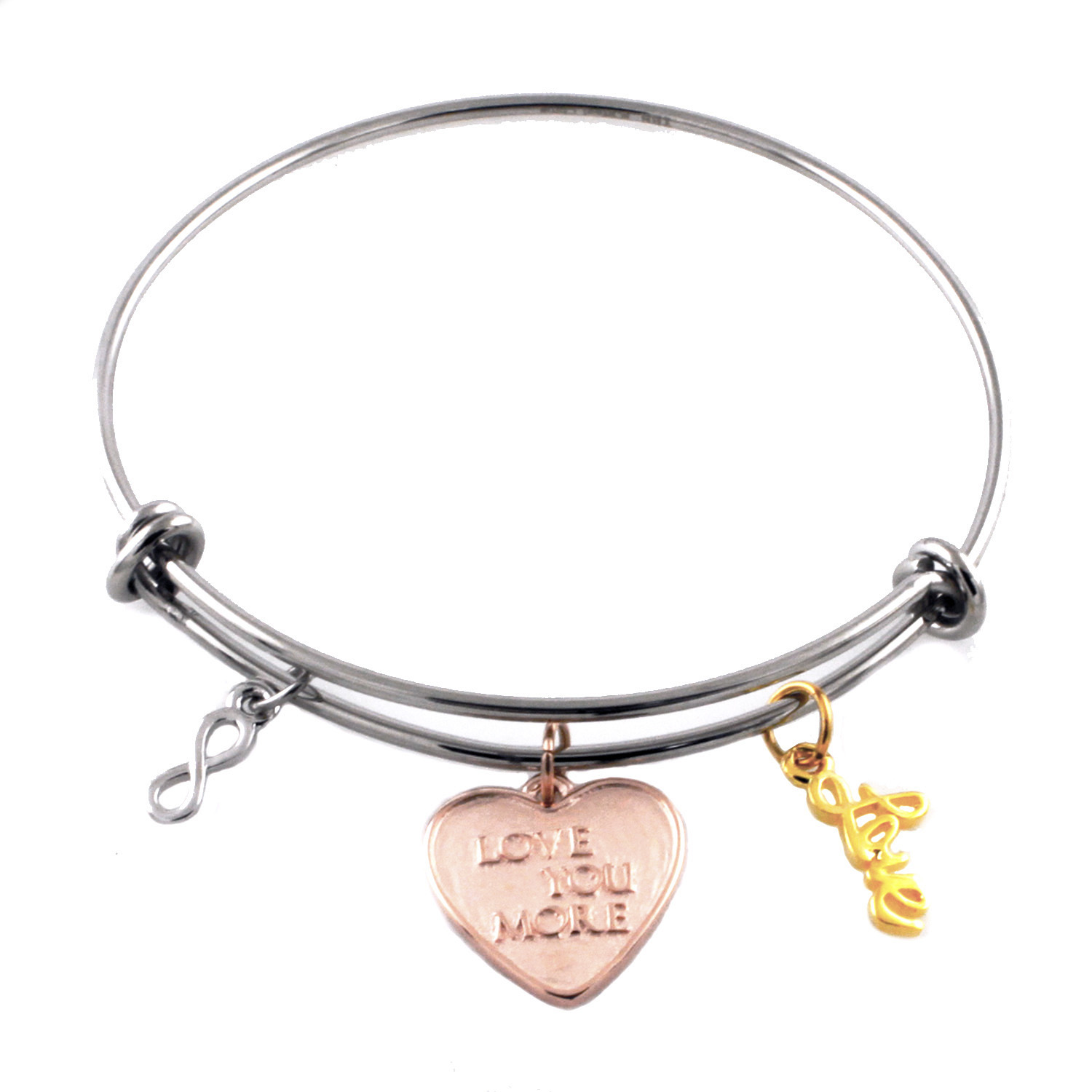 Stainless Steel Adjustable Love You More Infinity Charm BANGLE