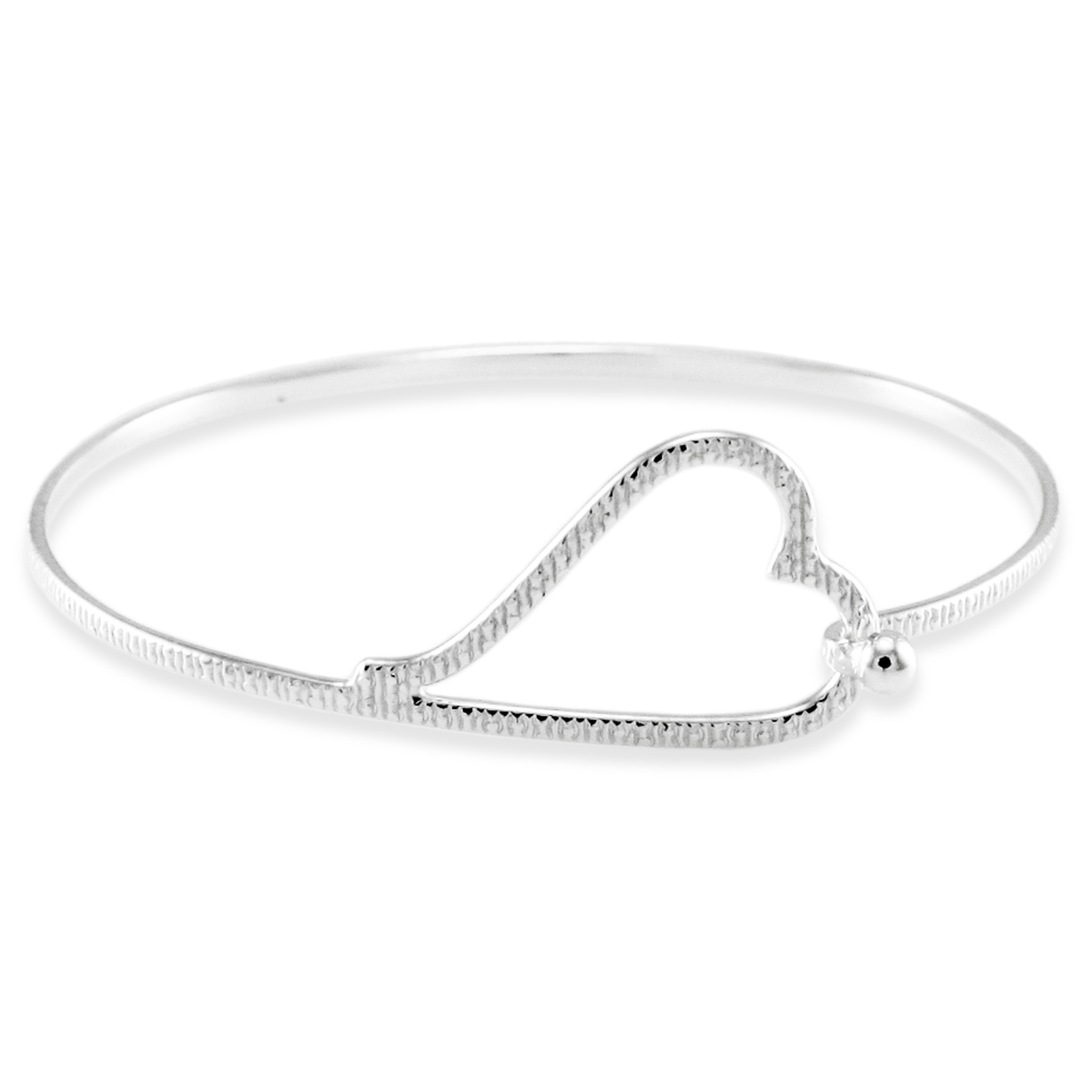 925 Sterling Silver Grain Pattern Heart Design BANGLE