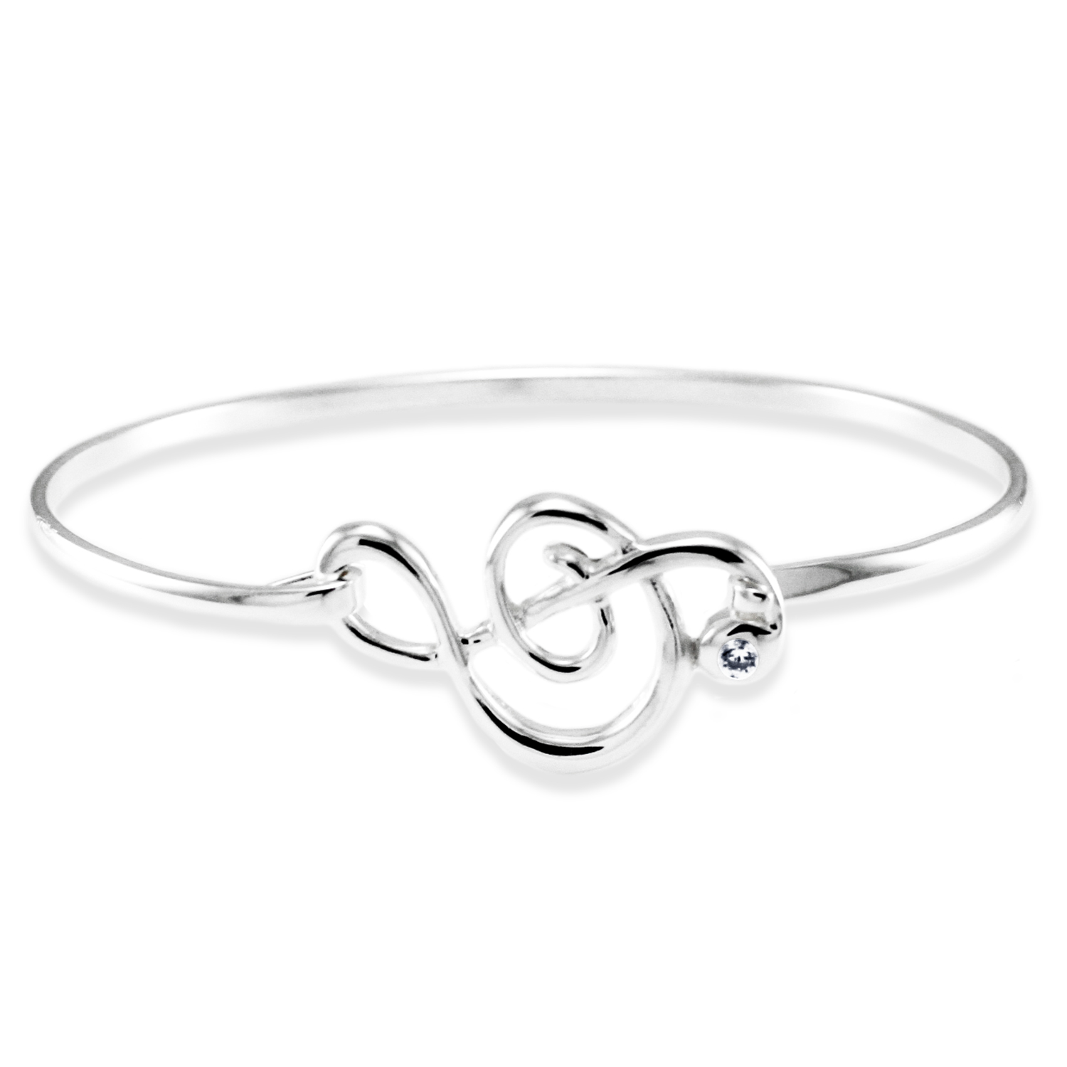 925 Sterling Silver Treble Clef Cubic Zirconia Design BANGLE