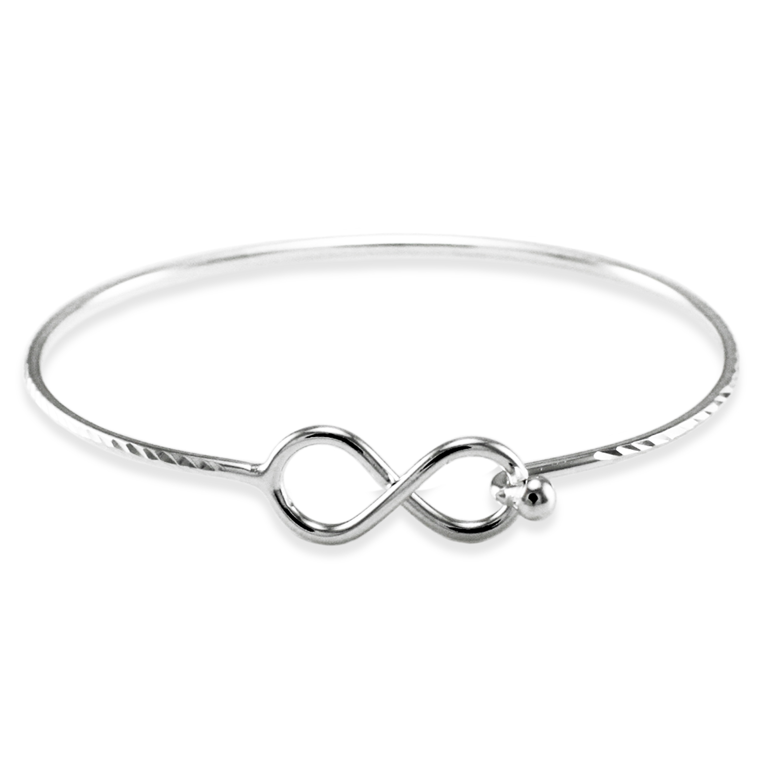 925 Sterling Silver Infinity DIAMOND Cut Design Bangle