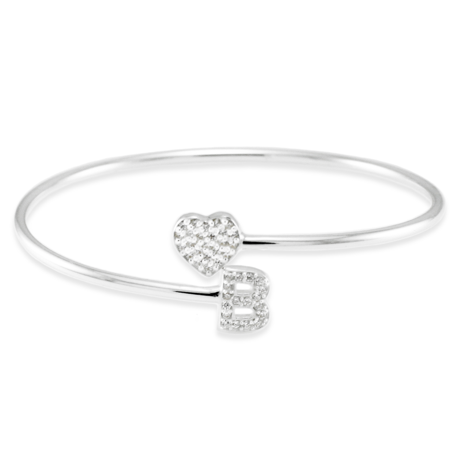 925 Sterling Silver Cubic Zirconia Heart and B Initial Design BANGLE