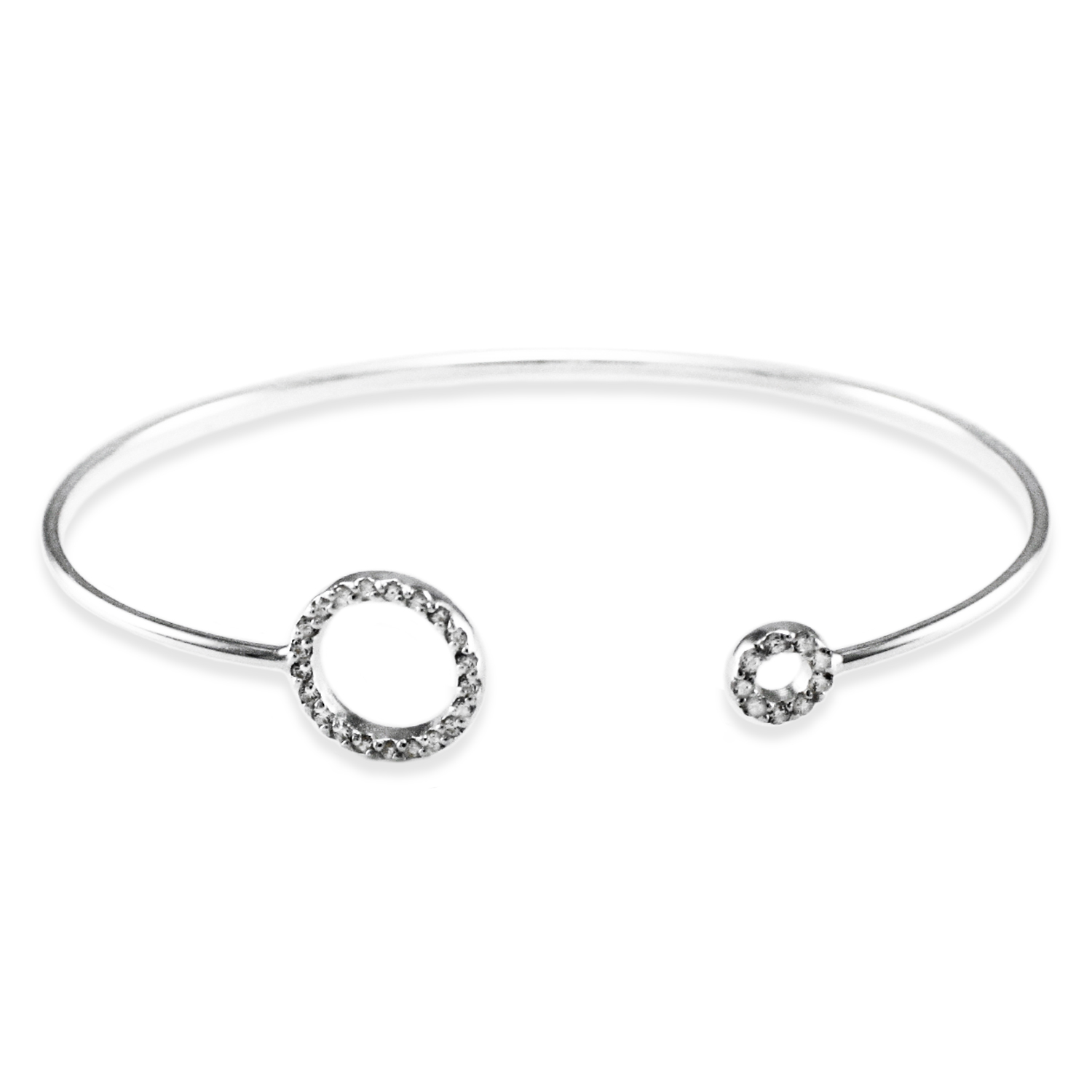 925 Sterling Silver Cubic Zirconia Dual Circle Design BANGLE