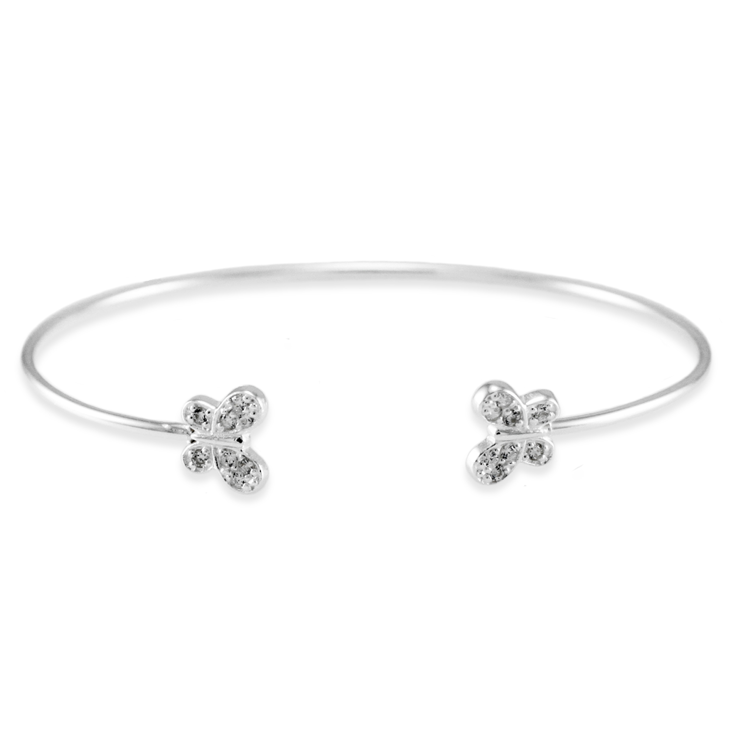 925 Sterling Silver Cubic Zirconia Twin Butterfly Design BANGLE