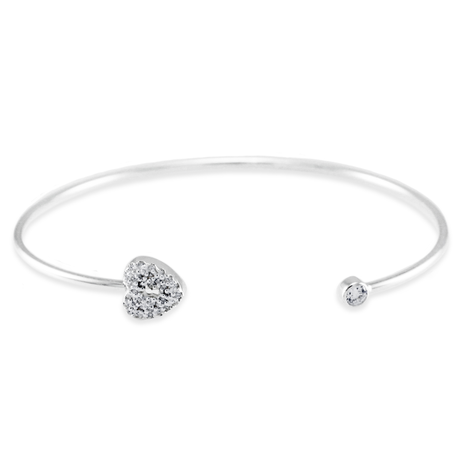 925 Sterling Silver Cubic Zirconia Key to My Heart Design BANGLE