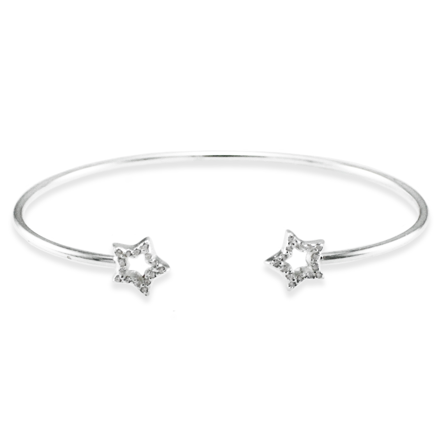 925 Sterling Silver Cubic Zirconia Double Star Design BANGLE