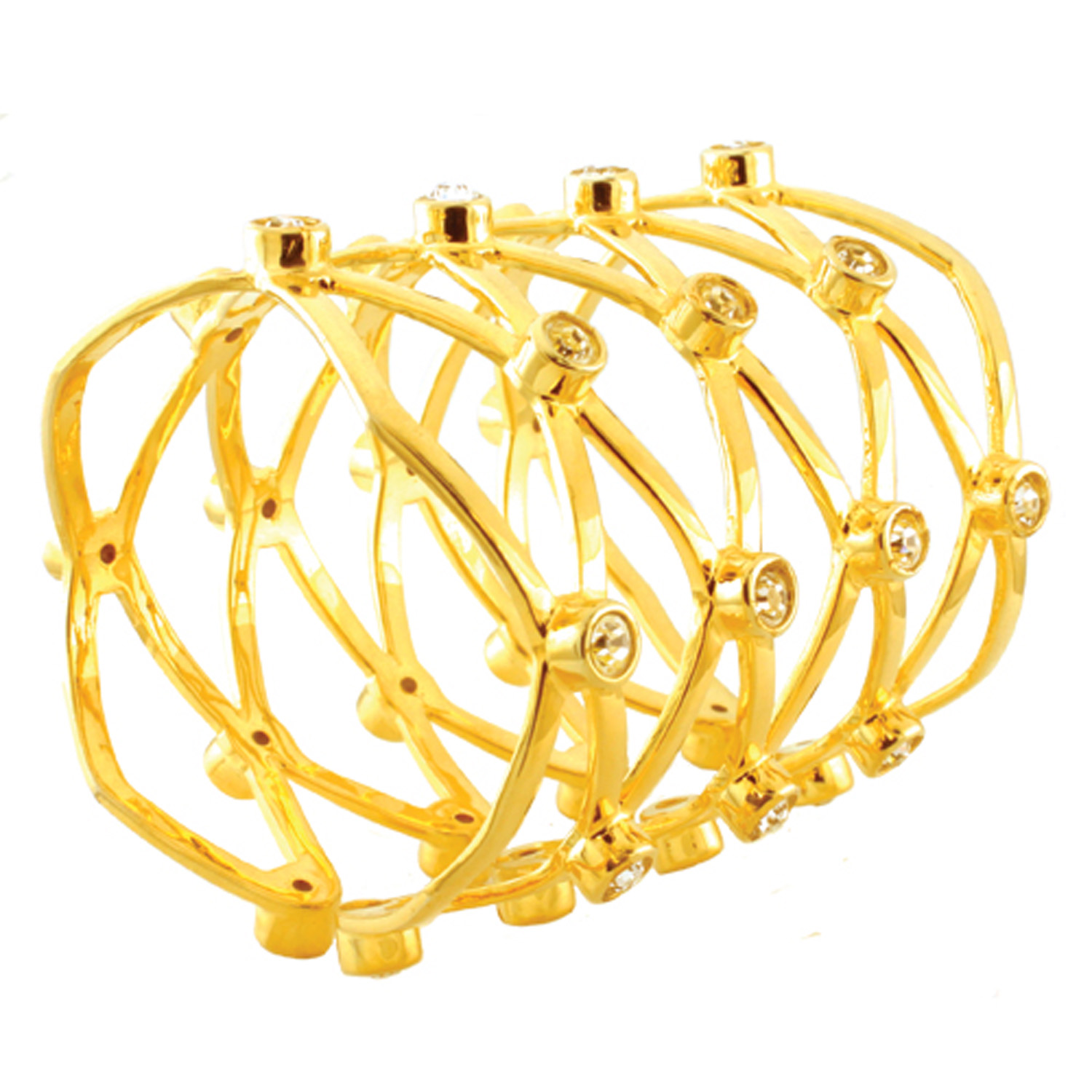 Gold Plated Cubic Zirconia Brass BANGLE