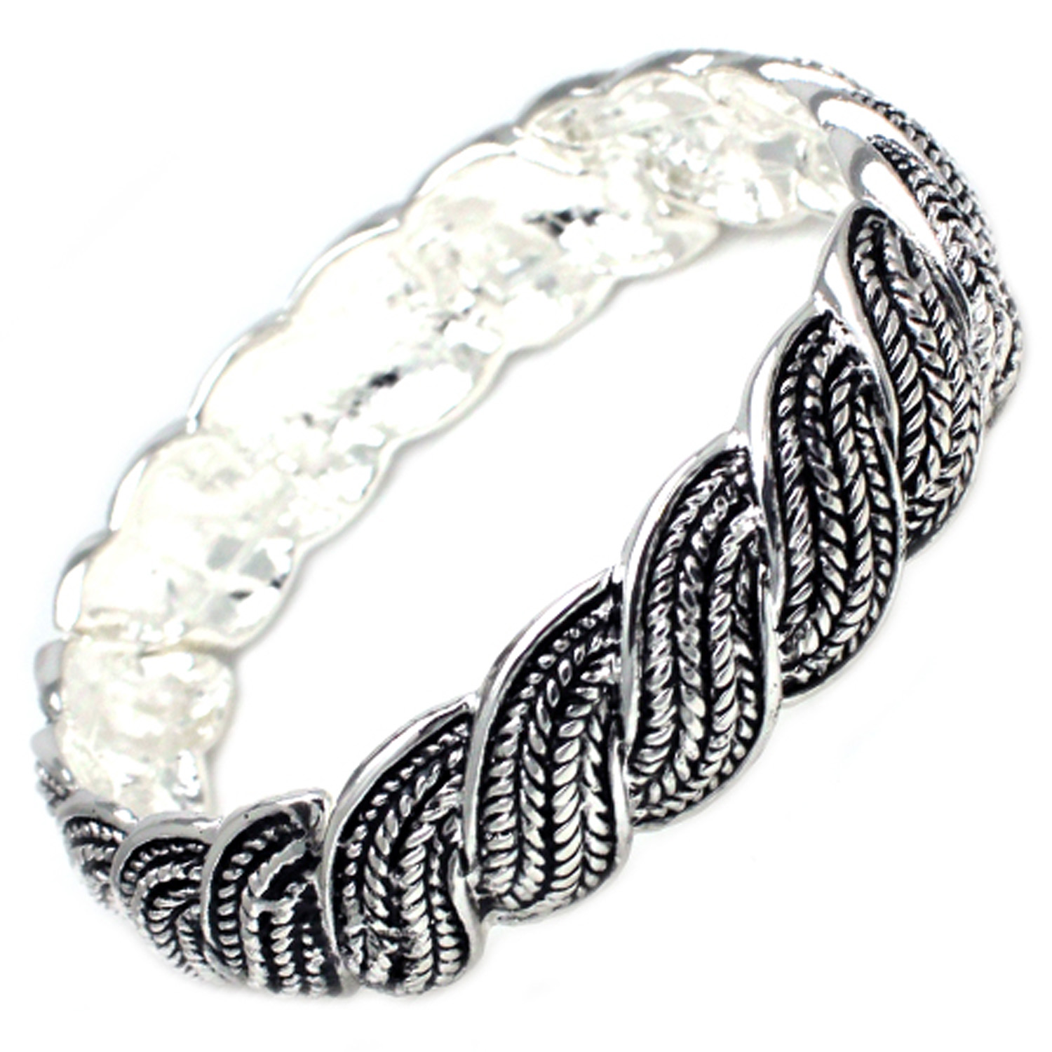 Antique Silver Plated Brass BANGLE in Twisted Wheat