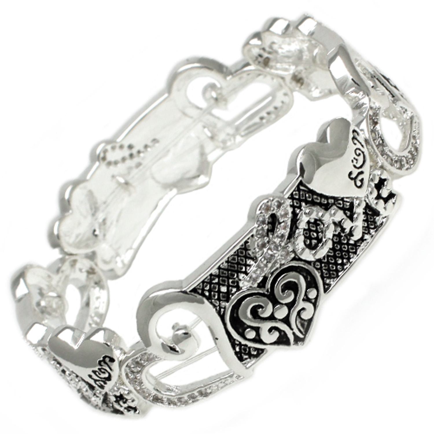 Antique Silver Plated CZ Heart Brass BANGLE