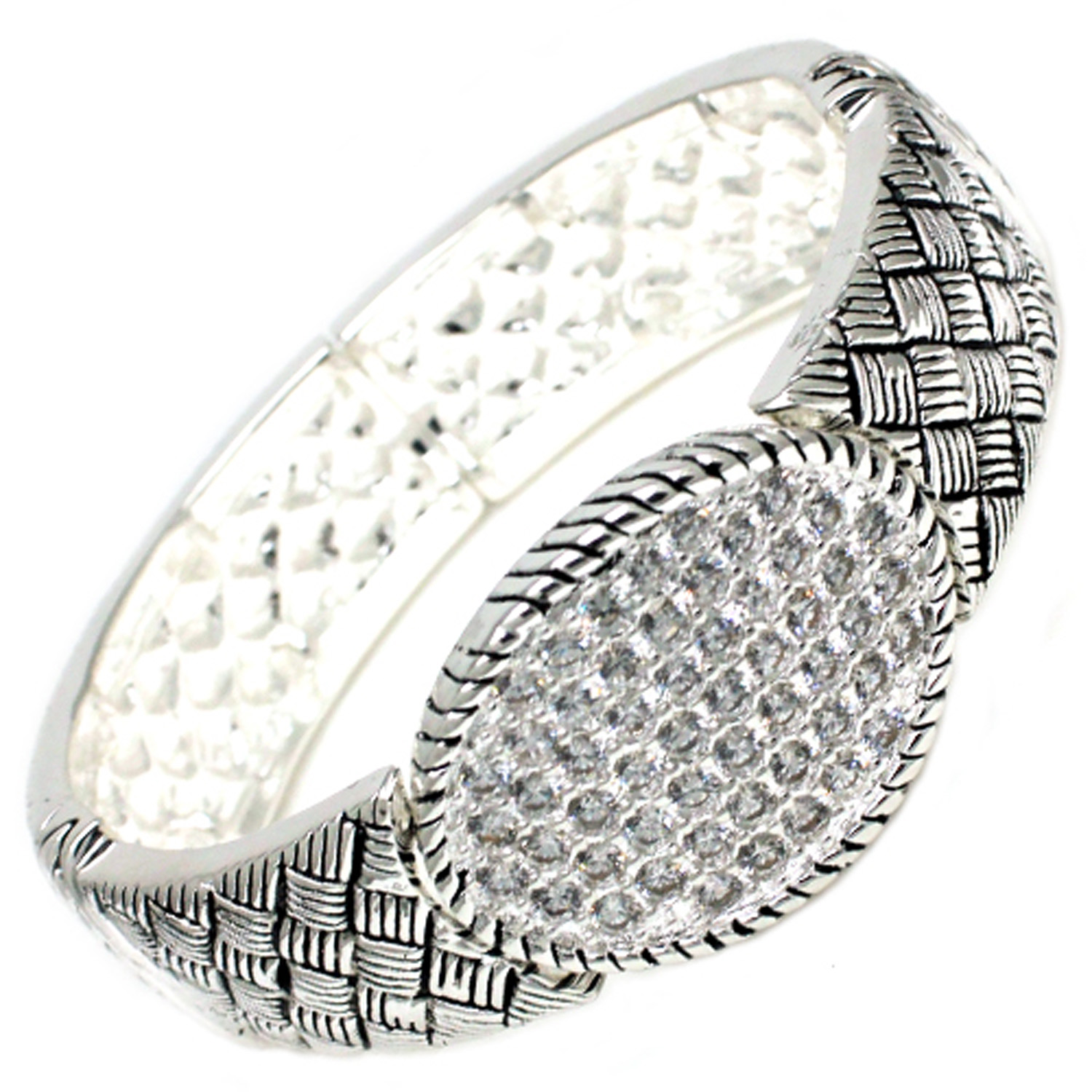 Antique Silver Plated Brass CZ Covered BANGLE