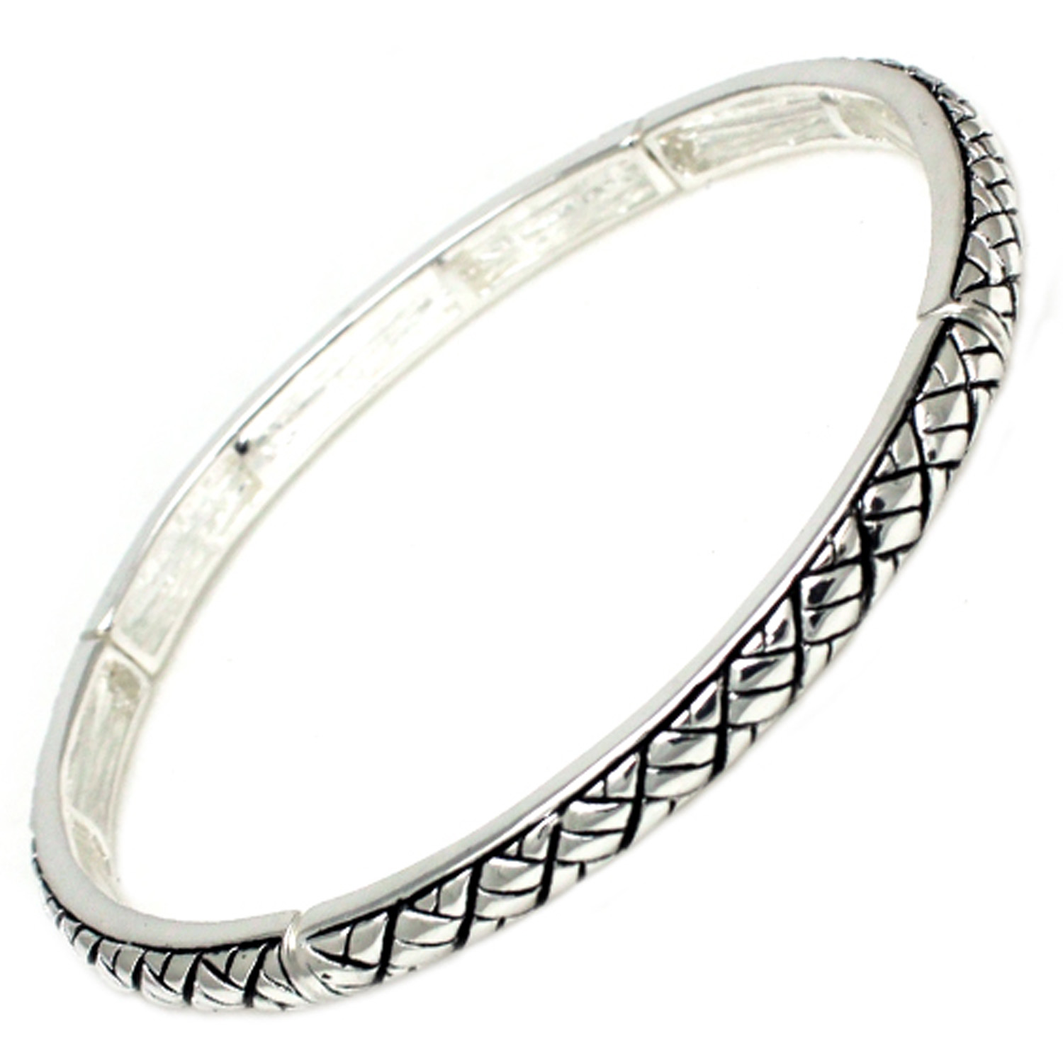 Antique Silver Plated Wheat Braid DesignB rass BANGLE Bracelet