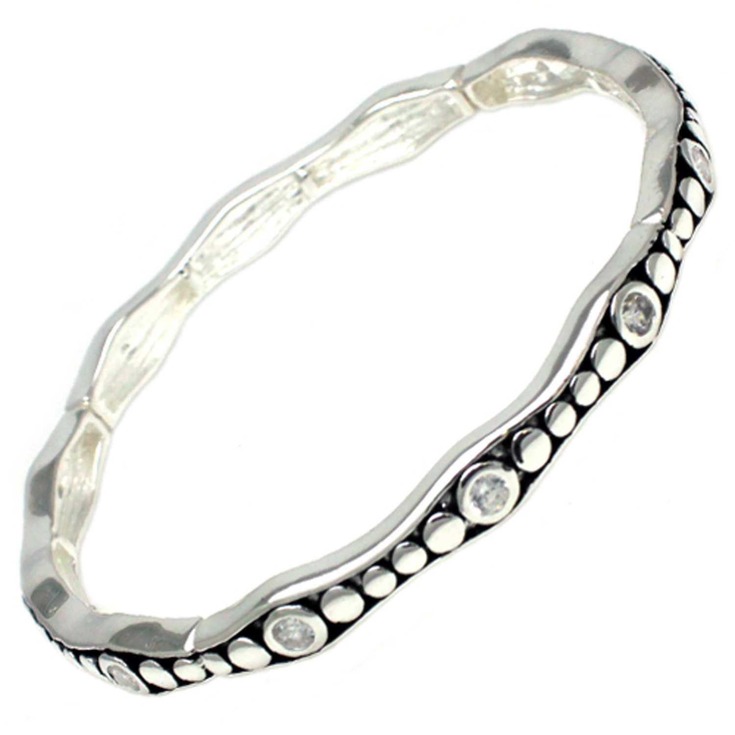 Antique Silver Plated Brass CZ BANGLE Bracelet