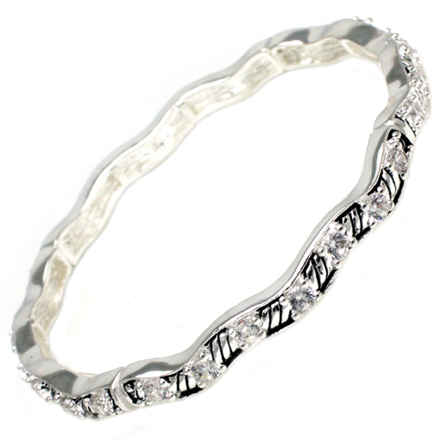 Antique Silver Plated Brass CZ Wave BANGLE