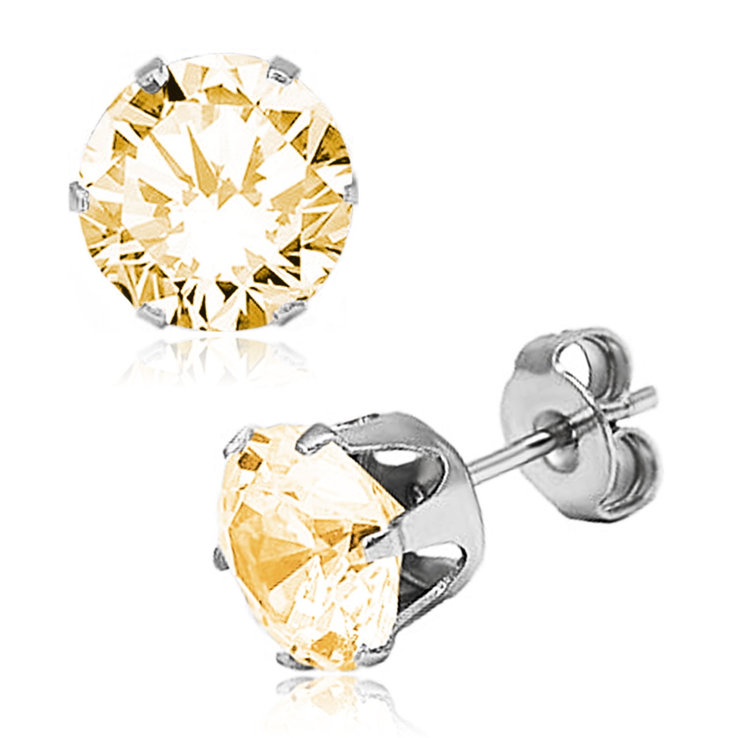 ''Stainless Steel 6-Prong Round Gold Cubic Zirconia STUD EARRINGS, Size: 5 mm''