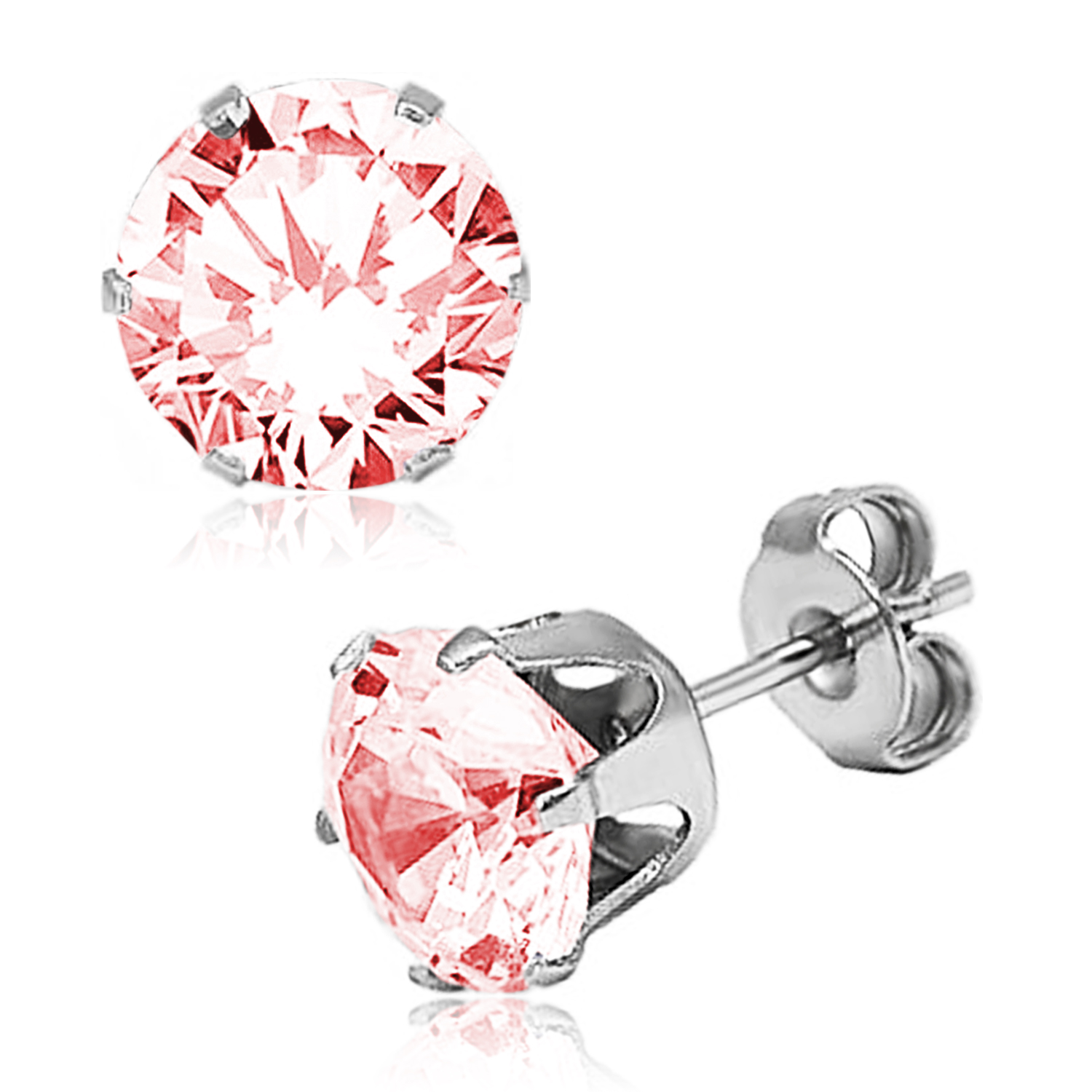 ''Stainless Steel 6-Prong Round Pink Cubic Zirconia STUD EARRINGS, Size: 4 mm''