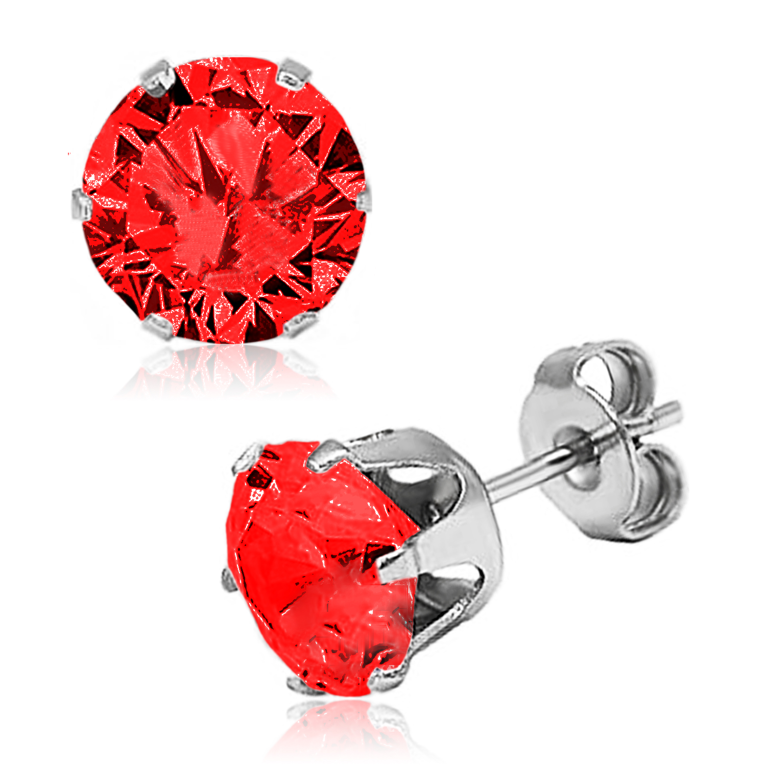 ''Stainless Steel 6-Prong Round Red Cubic Zirconia STUD EARRINGS, Size: 3 mm''