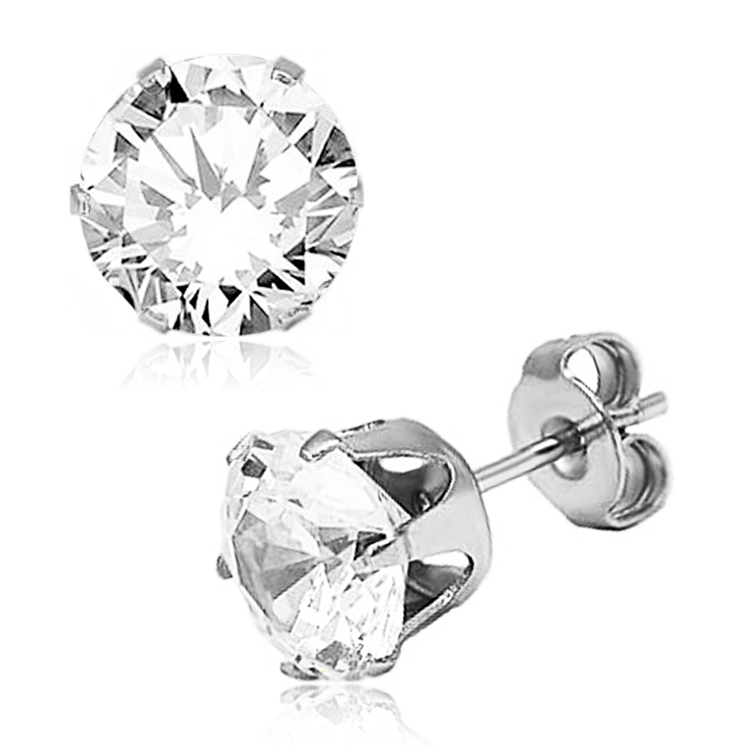 ''Stainless Steel 6-Prong Round White Cubic Zirconia STUD EARRINGS, Size: 4 mm''