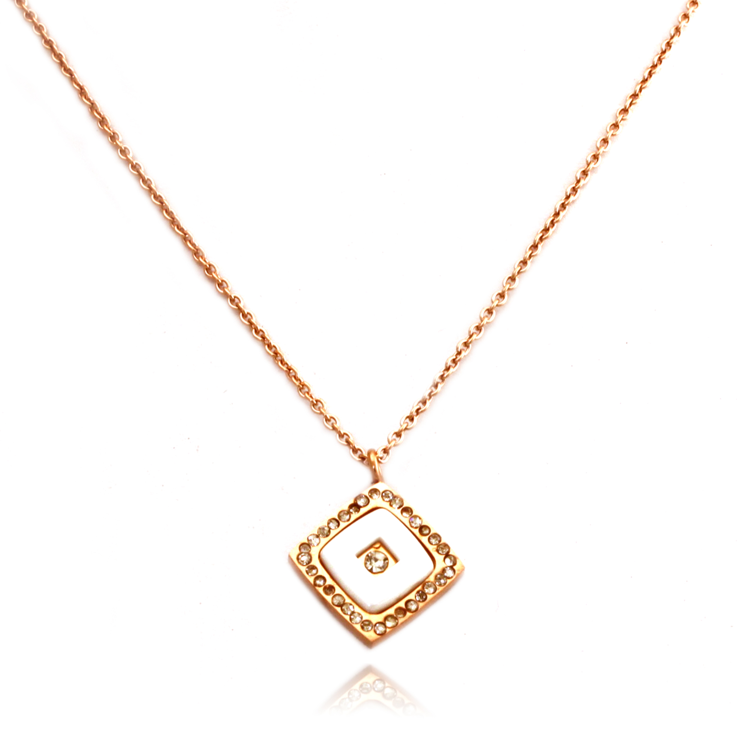 14K Rose Gold Plated Stainless Steel Square Ceramic Element PENDANT Necklace