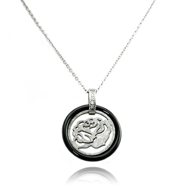 Stainless Steel Round Ceramic Element Rose Medallion PENDANT