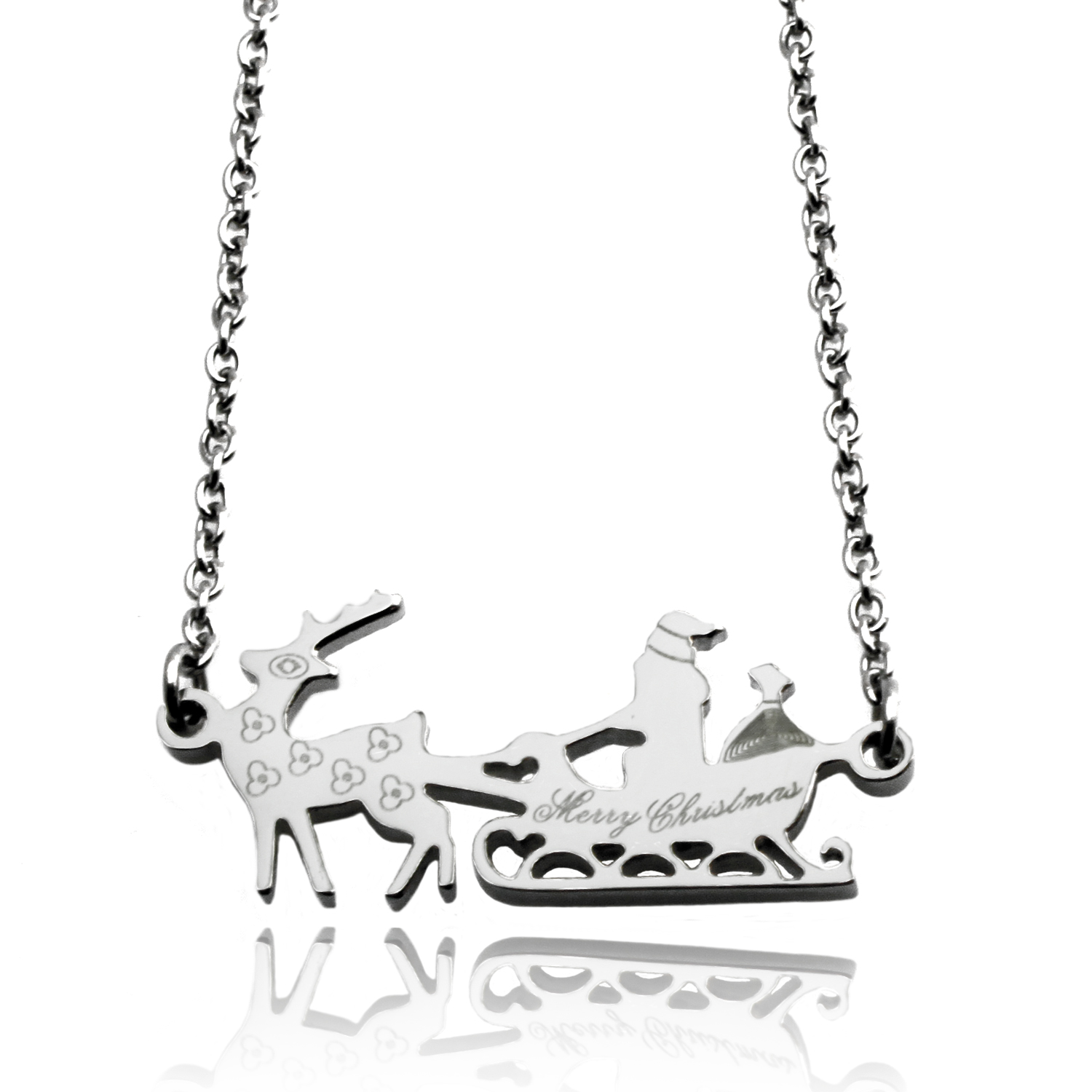Stainless Steel Merry CHRISTMAS Santa Sleigh Necklace