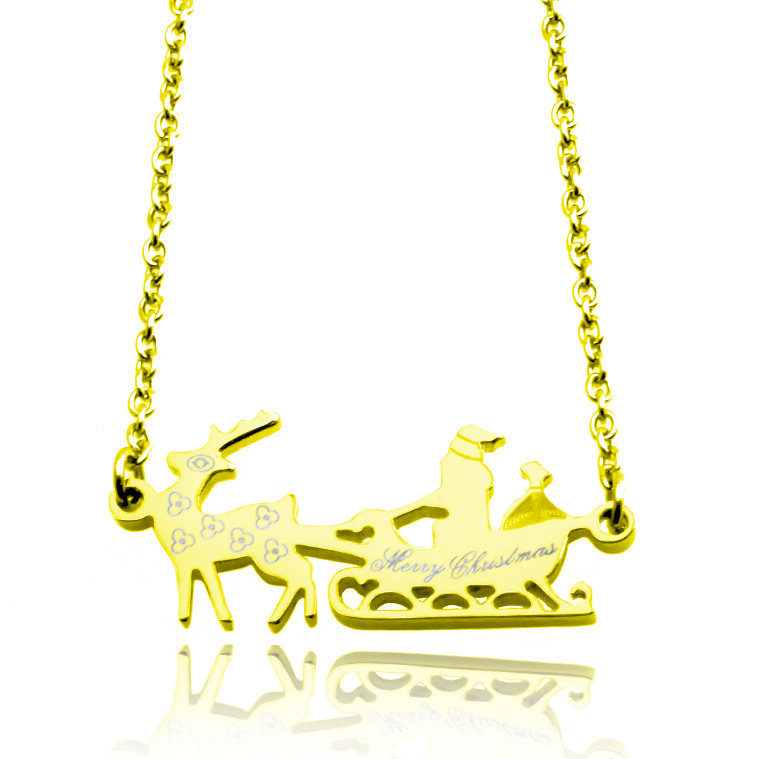 Gold Plated Stainless Steel Merry CHRISTMAS Santa Sleigh Necklace