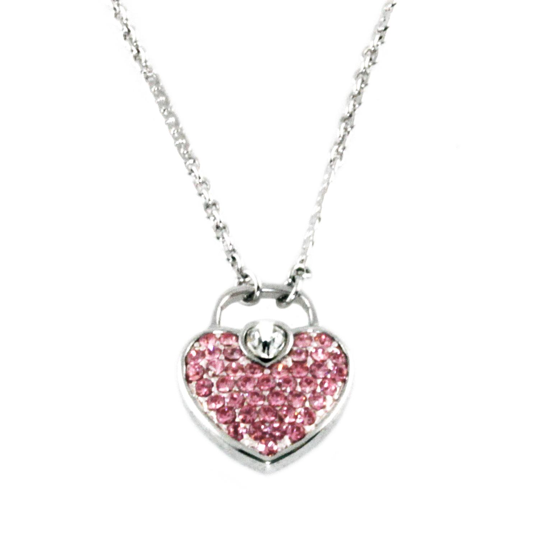 SWAROVSKI Elements Pink Heart Lock Charm Pendant Necklace