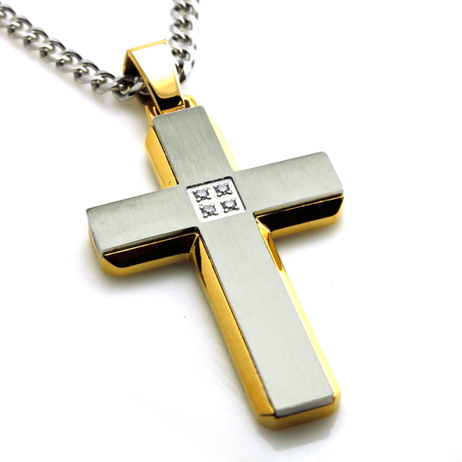 Stainless Steel Two Tone GOLD Plated CZ Cross Pendant