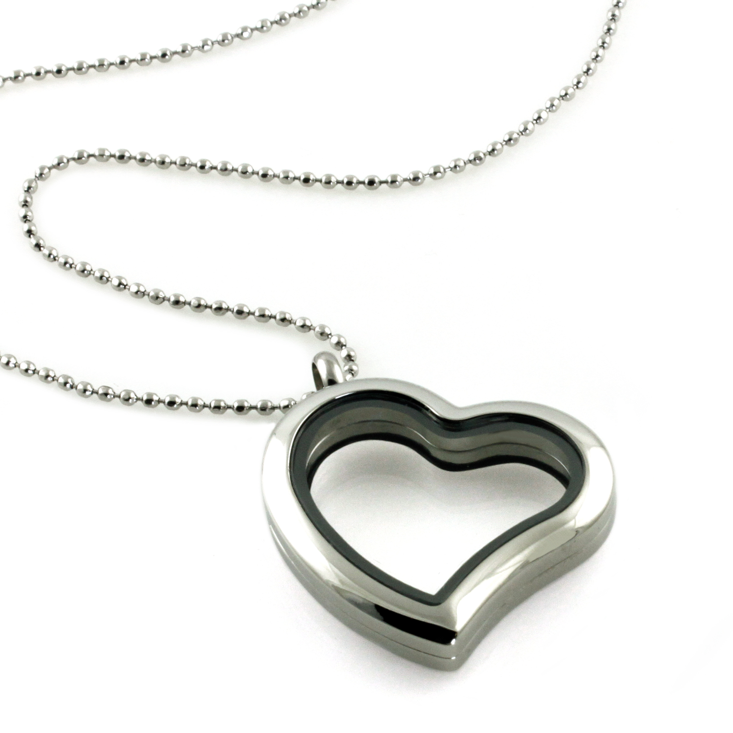 Stainless Steel Polished Glass Heart Locket PENDANT Necklace