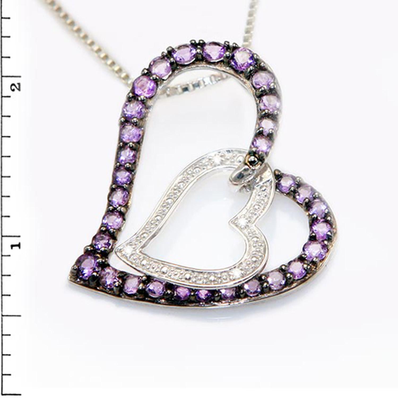 Sterling Silver Double Heart AMETHYST & Diamond Link Pendant
