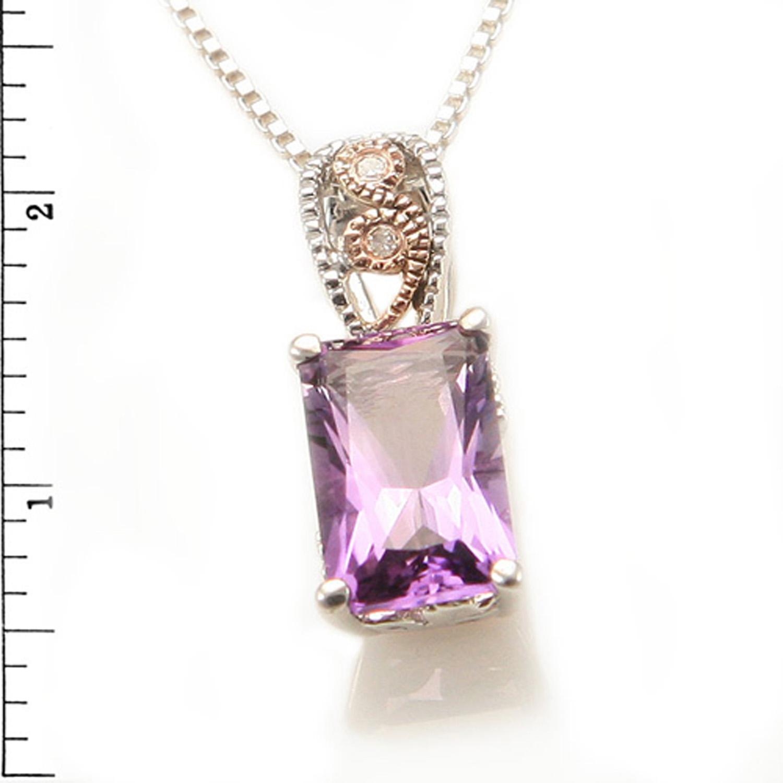 Sterling Silver 14KR AMETHYST Diamond Pendant