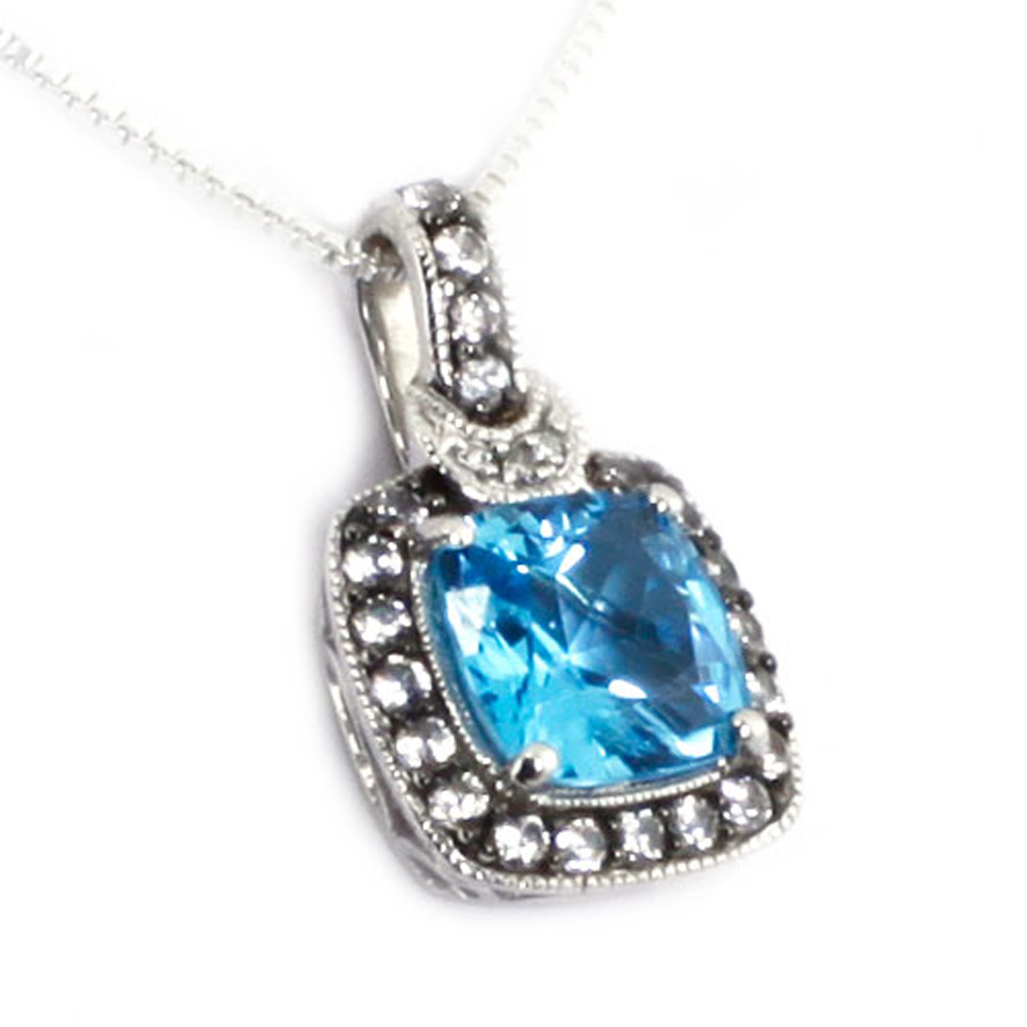 Sterling Silver LICENSED Swiss Blue Topaz Created White Sapphire Diamond Pendant