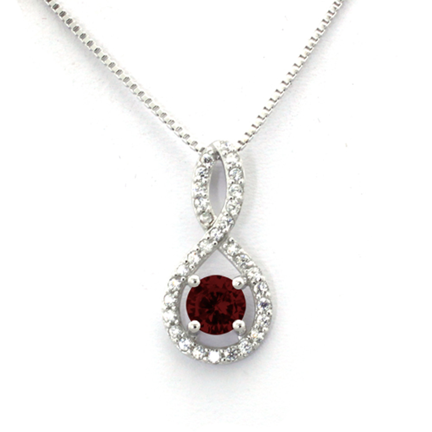 Sterling Silver Figure 8 GARNET CZ Color Center (January Birth) Stone Pendant