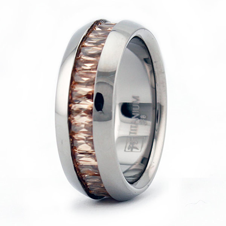 Titanium Baguette GARNET Cubic Zirconia Domed Eternity Band