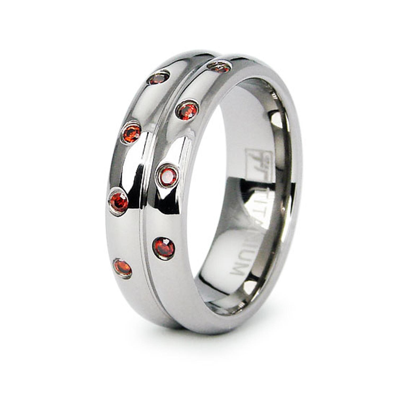Titanium Ruby CUBIC ZIRCONIA Womens Domed Ridge Ring