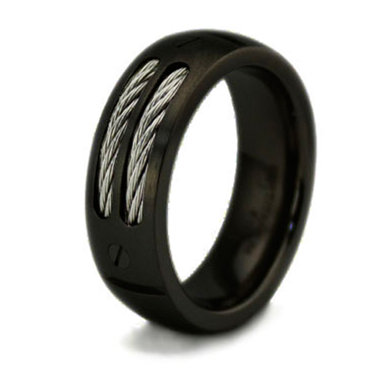 Black Titanium Double Cable & SCREW Inlay Ring