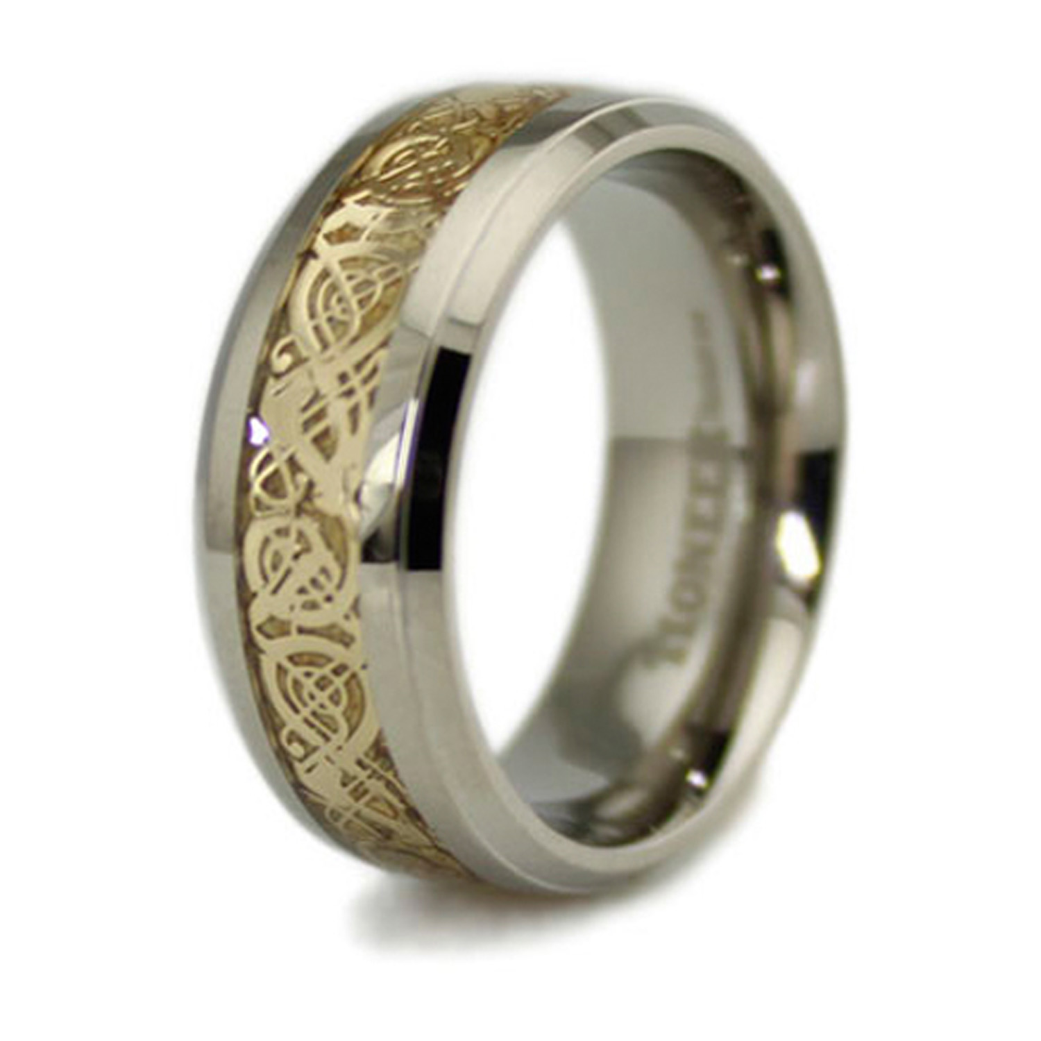 Titanium Golden DRAGON Design Inlay Ring