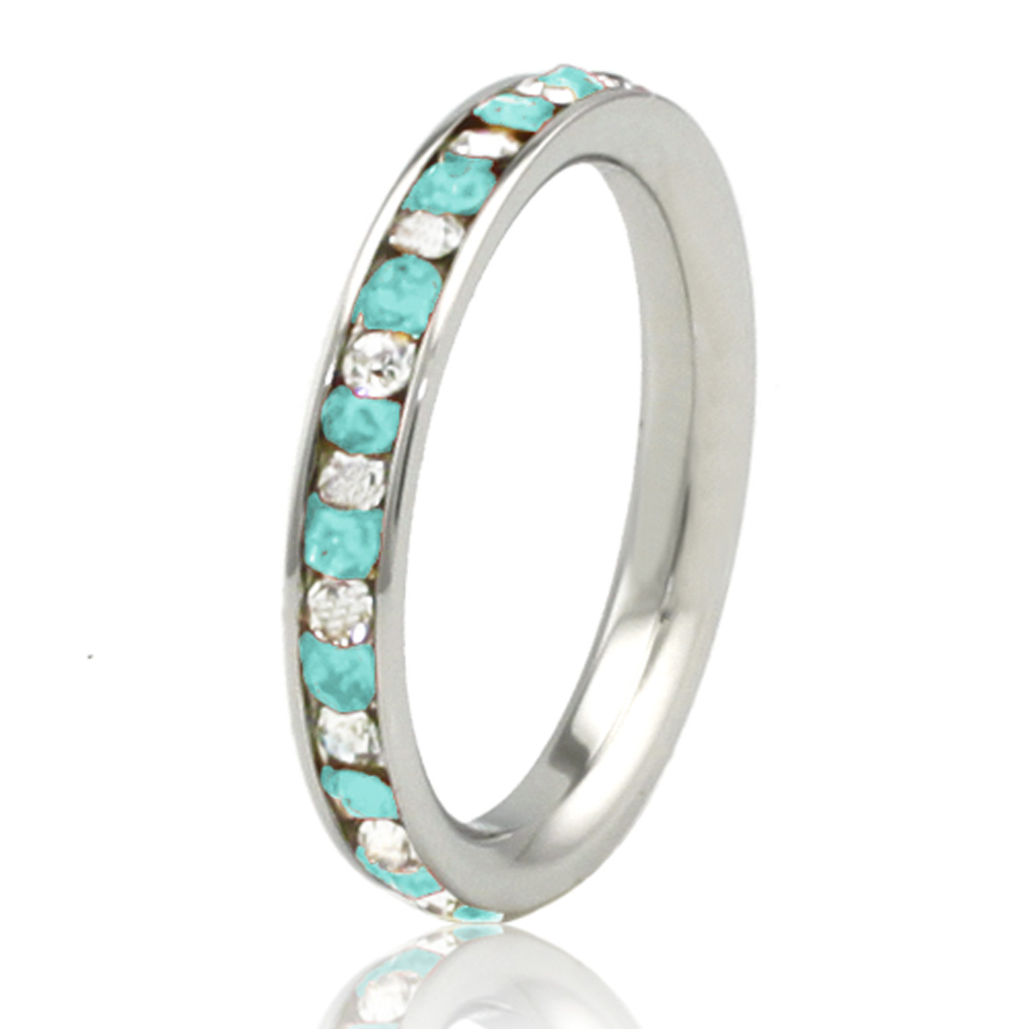 3mm Stainless Steel Teal AQUAMARINE & White Crystal Channel Eternity Band Stackable Ring