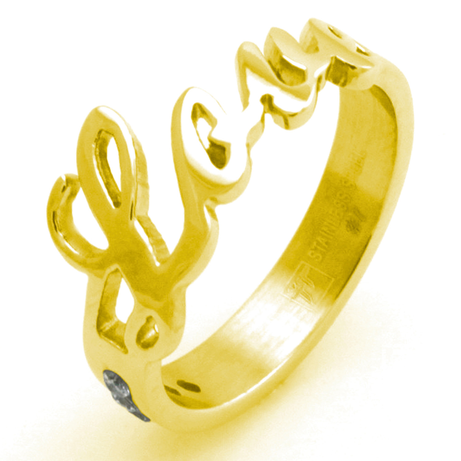 Stainless Steel GOLD Plated Love Ring