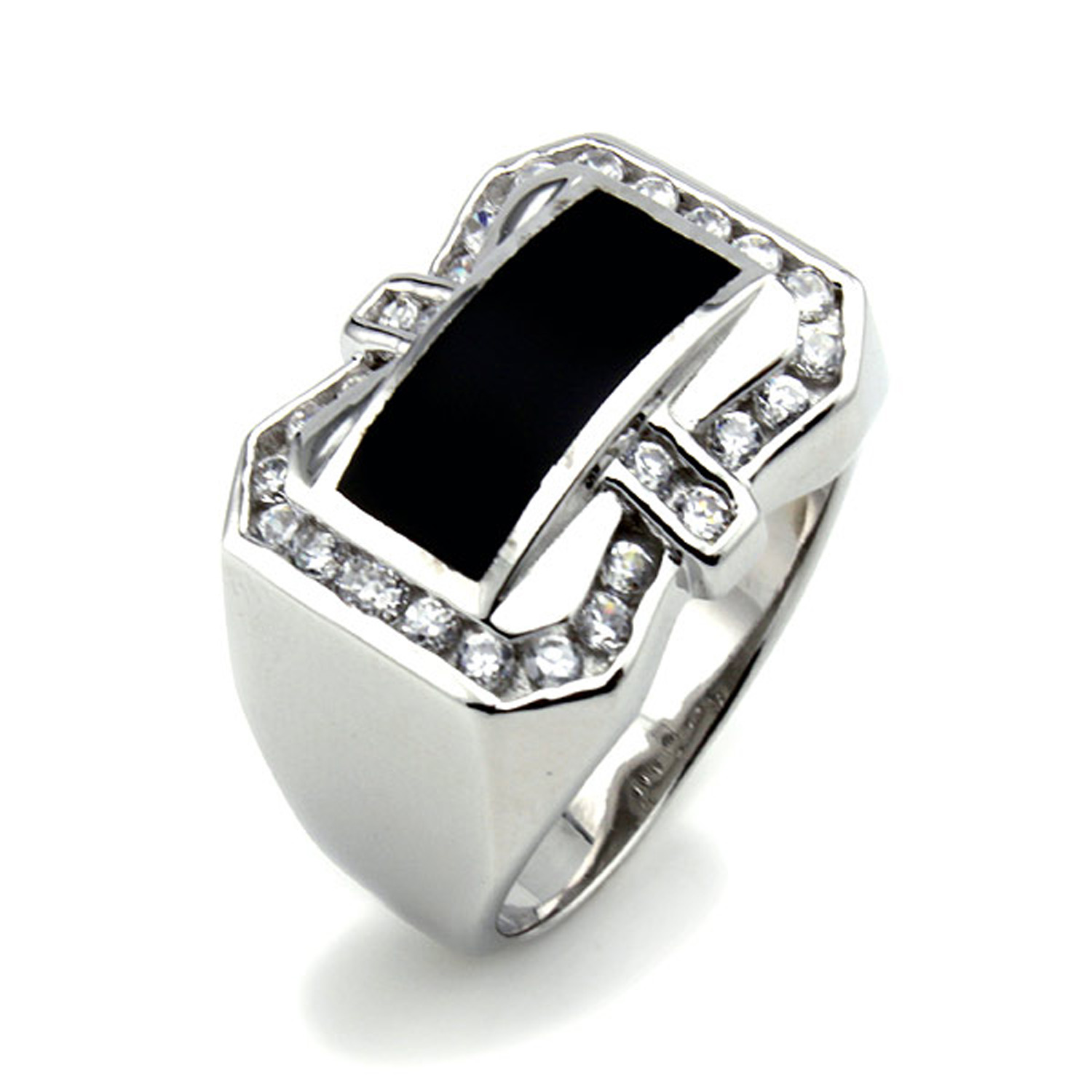 STERLING SILVER Cubic Zirconia Black Resin Ring